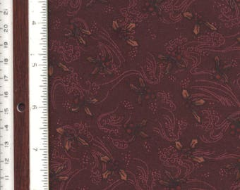"""Brown/Burgundy Christmas Holly Leaves - 18"""" L X 44"""" W - 100% Cotton Fabric"""