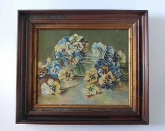Antique painting, pansies watercolor, framed painting, painted pansies, floral still life, walnut frame