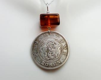 Japan necklace - 1895 Silver Dragon coin necklace - Antique Meiji Japan 20 sen silver coin - Amber necklace - tatsu - Dragon necklace