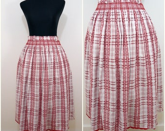 VINTAGE BOHEMIAN White Red Flower Check Swing Folk Skirt Uk 10 Fr 38 Bavarian/Oktoberfest/ Dirndl/ Country/ Prairie