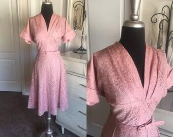 Vintage 1950's Dusty Pink Lace Dress M/L