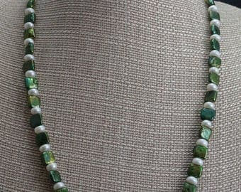 Green and White Freshwater Pearls