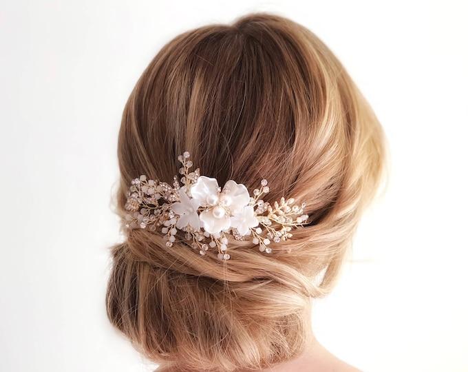 Gold Bridal Hair Vine, Bridal Headpiece, Wedding Hair Vine, Flower Hair Piece, Ivory Flower Hairpiece, Gold Leaf headpiece, Hair Accessory