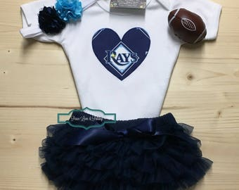 Tampa Bay Rays Baby Bodysuit, Ruffle Diaper Cover and Headband Set Made from Tampa Bay Rays Fabric, Baby Girl Rays Outfit, MLB Baby Girl