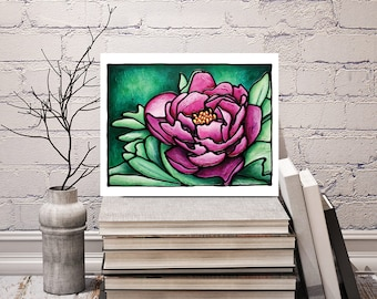 Pink Peony Print - FREE Shipping - Stained-Glass Art - Pink Floral Wall Hanging - Art Nouveau Artwork - Deep Pink Flower Room Decor
