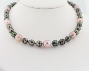 Tahitian and Kasumi like pearl necklace, hand knotted, saltwater black pearls, ripple nucleated freshwater, sterling: Simply Adorned