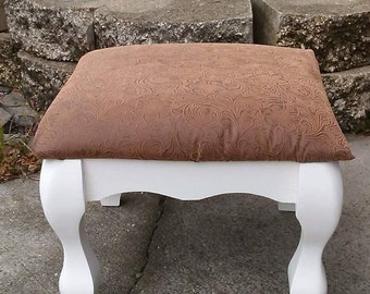 Vintage Tooled Leather Footstool Step Stool : leather foot stool - islam-shia.org