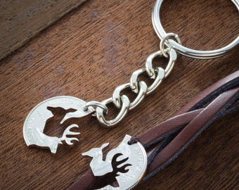 Buck and Doe Bracelet and Key chain, Couples Jewelry, Woven and Braided Relationship Bracelets, Couples bracelet, Couples Keychain.