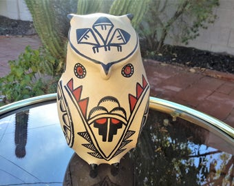 """Jemez Pueblo Pottery Owl 7 1/2"""" A. Fragua Hand Crafted and Painted Native American / Southwest USA Pottery"""