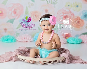 Cake smash outfit - Ruffle Diaper Cover- Twin Girls Cake Smash Outfit - Baby Girl Photo Outfit- Baby Bloomer Set -Ruffle Baby Diaper cover