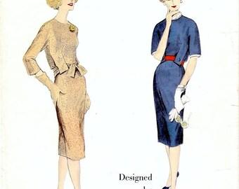 Amazing Vintage 1950s Vogue Paris Original 1441 Designer Jean Desses Tab Interest Slim Sheath Day or Cocktail Dress Sewing Pattern B34