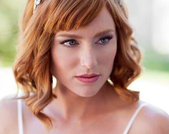 Silver Rhinestone Leaf Headband  Bridal Hair Accessory / Jewelry - Ready To Ship