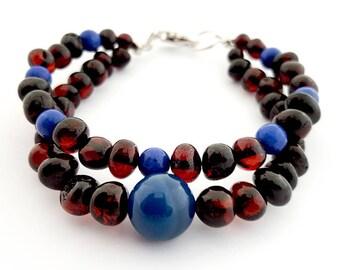 NATURAL BALTIC AMBER Adult Bracelet with Blue Lazurita Stones