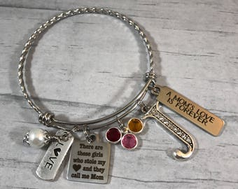Mothers BRACELET. Gift for Mom. Mothers Birthstone Jewelry. Family Bangle. Mom of Girls. Mothers Jewelry. Mothers Day Gift. Birthstone Charm