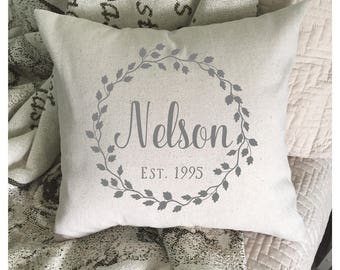 Custom Name | Throw Pillow Cover | Established Date | Farmhouse Pillow | Wreath Pillow Cover | Farmhouse Decor | Rustic Home Decor | 22601