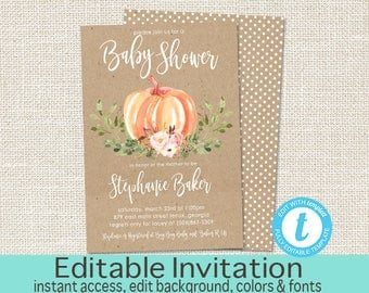 Little Pumpkin Baby Shower Invitation, Fall Shower Invite, Greenery, Pumpkin Shower, Floral, Baby Girl Shower, EDITABLE, Instant Download