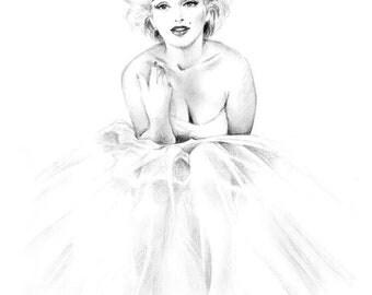 Original Pencil Drawing - Marilyn Monroe Ballerina - Black and White