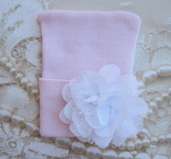 Newborn Hospital Hat, baby pink with a white chiffon & lace flower, take home beanie, beenie, infant, baby hat, Lil Miss Sweet Pea Boutique