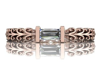 Diamond Wedding Band - Diamond Baguette Stacking Band .13 CTW - Insieme™ Bridal Stackables