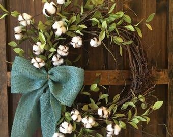 Cotton Wreath / Farmhouse Wreath / Everyday Wreath
