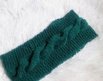 Teal Green Knitted Headband - FlosCaeli Headbands - Handmade Winter Warm Headband