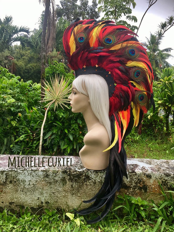 "Made to order: ""Hale'Akala"" Phoenix Style Feather Mohawk / Headdress"