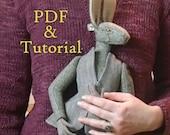 Janero the Jackrabbit Artdoll Pattern and Tutorial, Make Your Own Unique Art Doll, Beautiful Rabbit Doll