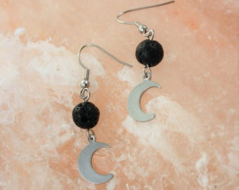 Moon Essential Oil Earrings - Aromatherapy Earrings - Moon Diffuser Earrings - Lava Stone Earrings - Moon Earrings - Celestial Earrings
