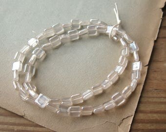 Czech Glass Clear Luster Square Beads 8mm Flat New (60)