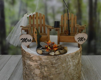 Fishing themed wedding cake topper for rustic country weddings bride and groom fisherman fishing poles Adirondack chairs campfire camping