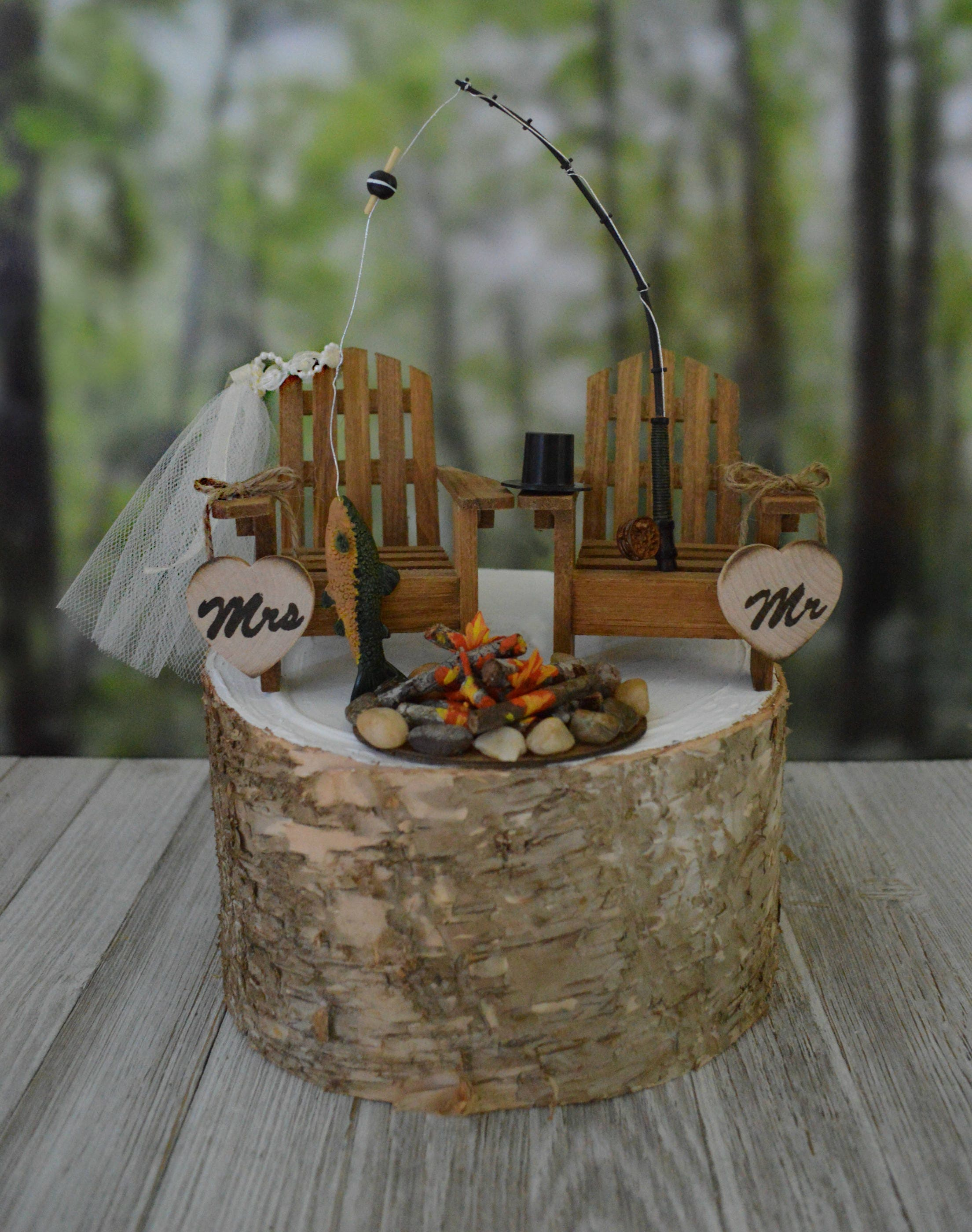 Fishing themed wedding cake topper for rustic country weddings
