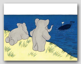 "Elephant Nursery Art, Babar the Elephant (Boy Nursery Prints, Girl Nursery Art) Babar Print --- ""Whale Watch"""