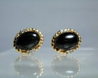 Vintage 14k Yellow Gold Onyx and Diamond Clip On Earrings Fine Quality DanPickedMinerals