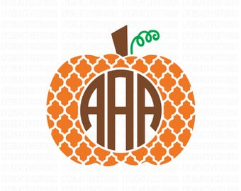 quatrefoil Pumpkin SVG, Pumpkin Monogram SVG, Pumpkin Frame SVG, Fall Svg, Thanksgiving Svg, Silhouette Cut Files, Cricut Cut Files