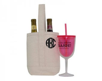 Monogram Wine Tote - Personalized Canvas Wine Carrier - Natural Canvas Wine Tote - Monogrammed Wine Tote - Hostess Gift - Bridal Party Gift