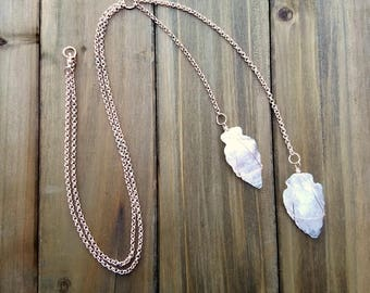 Rose Quartz Arrowhead and Rose Gold Chain Double-Y Necklace