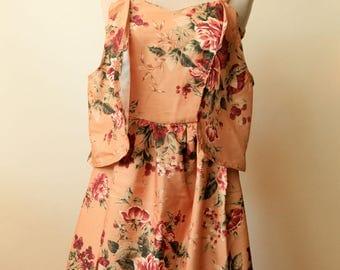 Mustard Floral Print Dress | Bohemian Shabby Chic Bridesmaid Dress | Boho Gypsy Hippie | Bohemian Wedding | Off the Shoulder Maxi Dress