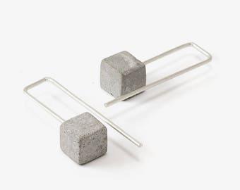 Architectural Earrings, Concrete Earrings, Concrete And Silver Earrings, Concrete Jewelry, Minimalistic Earrings, Long Earrings