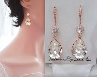 Rose gold earrings, Swarovski crystal earrings~Teardrops~Wedding earrings ~14k rose gold over sterling silver wires,Brides earrings,SOPHIA