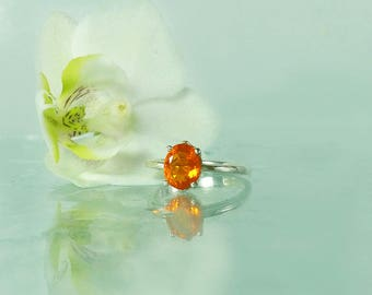 Fire Opal Ring, Fire Opal Engagement Ring, Fire Opal Silver Ring, Fire Opal Sterling Ring, Opal Ring, Opal Solitaire Ring, Opal Silver Ring