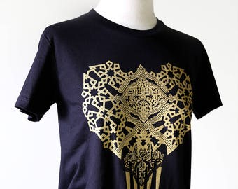 Bold Geometric Pattern in GOLD Ink on Black Tshirt  //  You are a Jewel // Hand of Fatima