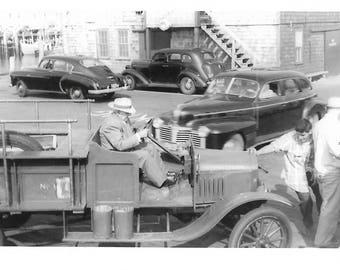 "Vintage Photo ""Just Before The Crash"" Provincetown Fire Truck Speeding Car Blur Motion Cape Cod Massachusetts Found Vernacular Photo"