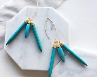 Turquoise Earrings, Gold Blue Earrings, OOAK, Boho Chic, Tribal, Minimalist, Modern, Dangle, Long Earrings, Statement Birthstone Gift