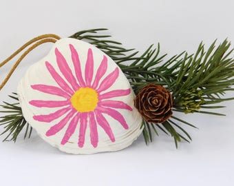 Pink Daisy Flower Handpainted Seashell Ornament, Sea Shell Christmas Ornament, Beach Home Decor, Beach Holiday Decor, Painted Pink Flower