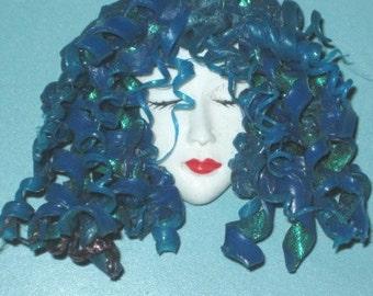 Handmade Blue Curly Hair Lady Head Face Pin
