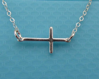 Sideways Cross, Sterling Silver Necklace