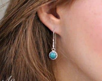 Turquoise Dangle Earrings - Turquoise Sterling Silver Earrings - Handmade Earrings - December Birthday -  Gift Under 50