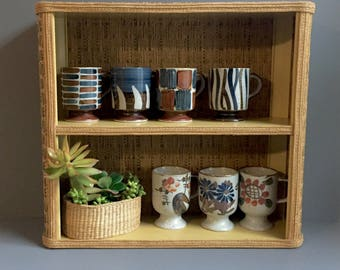 small wicker wall shelf