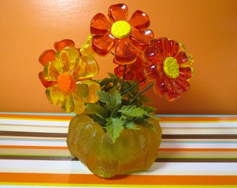 Vintage 1960s Retro MOD Groovy Lucite Resin Flower Power Orange Yellow Art Sculpture