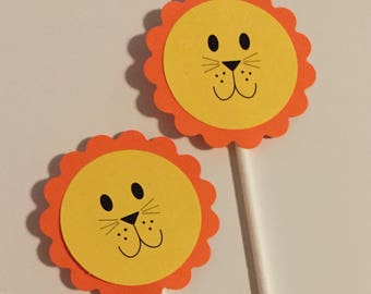 12 Lion Cupcake Toppers FREE SHIPPING